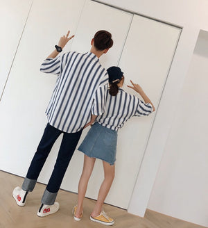 [Korean Style] Nira Striped Casual Unisex Shirts