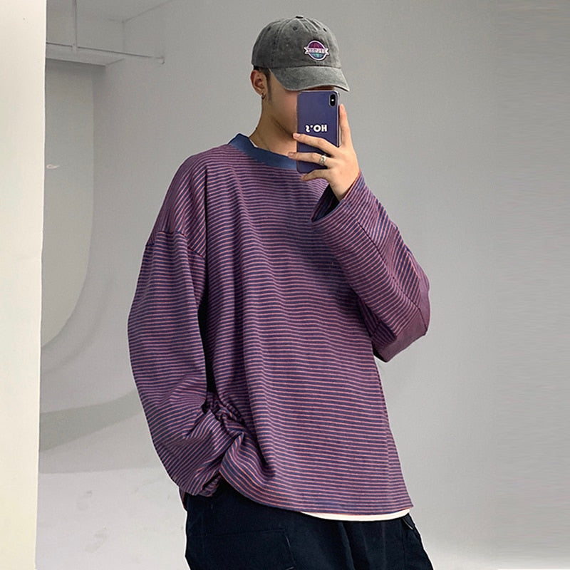 [Korean Style] Poly Striped Long-sleeved T-Shirts