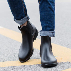 [Korean Style] Black/Brown Chelsea Rainboots