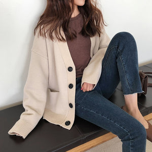 [Korean Style] Via Single Color V neck Cardigan