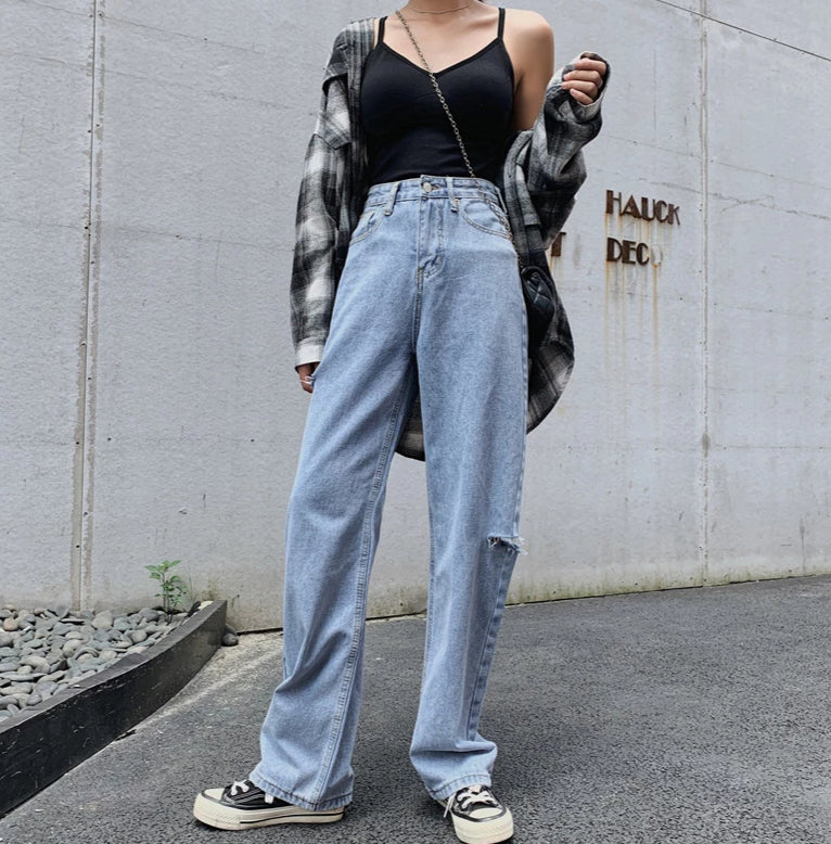 [Korean Style] Laurel Wide-leg Full Length Jeans