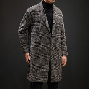 [Korean Style] Houndstooth Plaid Double Breasted Wool Overcoats