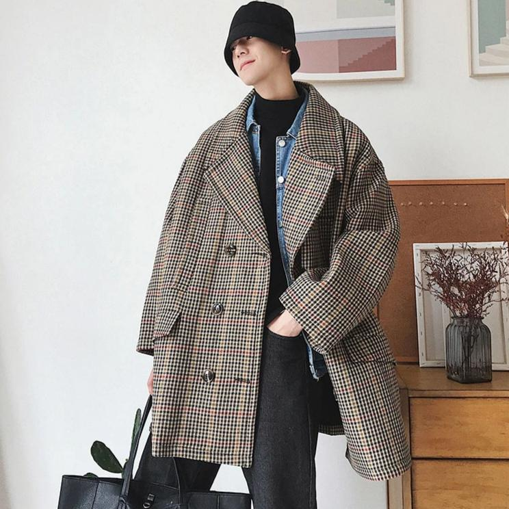 [Korean Style] Diny Plaid Woolen Oversized Jackets