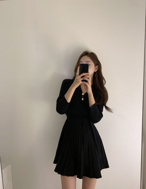 [Korean Style] Meerin V-neck Knit Mini Dress
