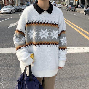 [Korean Style] Plush Flower Pullover Sweaters