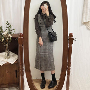 [Korean Style] Mae Plaid Overall Dress