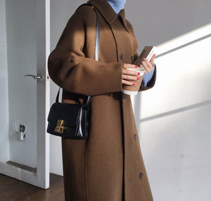 [Korean Style] Leah Wool Blended Double Breasted Long Coat