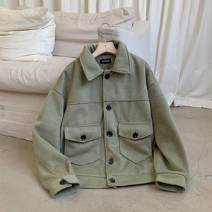 [Korean Style] Mory Single Breasted Woolen Short Coats