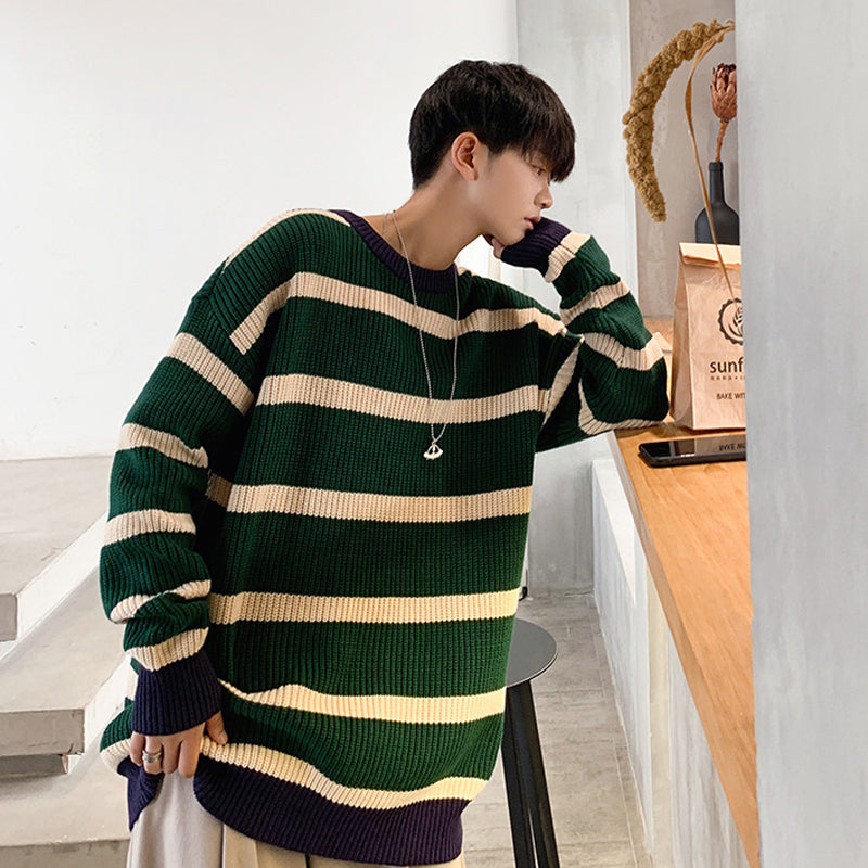 [Korean Style] 2 Colors Striped Woolen Sweaters