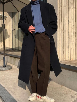 [Korean Style] Brown/Black Woolen Casual Trousers