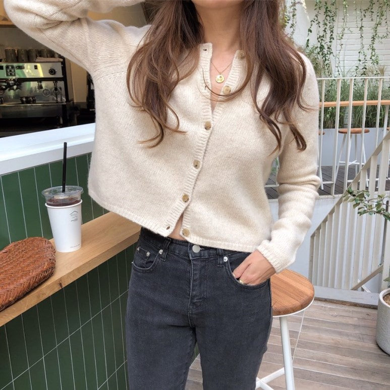 [Korean Style]  Almond Cropped Cardigan