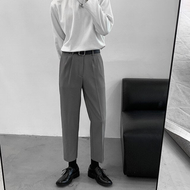[Korean Style] Black / Gray Casual Straight Pants