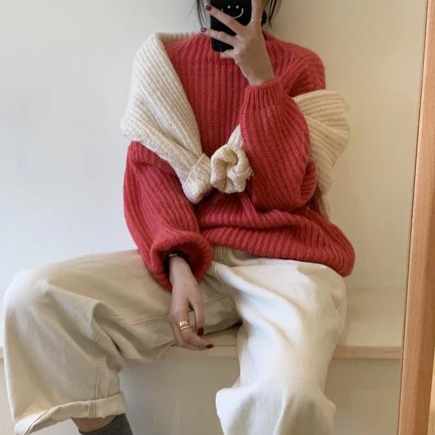 [Korean Style] Gem Solid Color Rib Knit Sweater