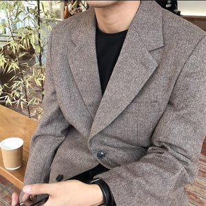 [Korean Style] Brown Single Breasted Blazers
