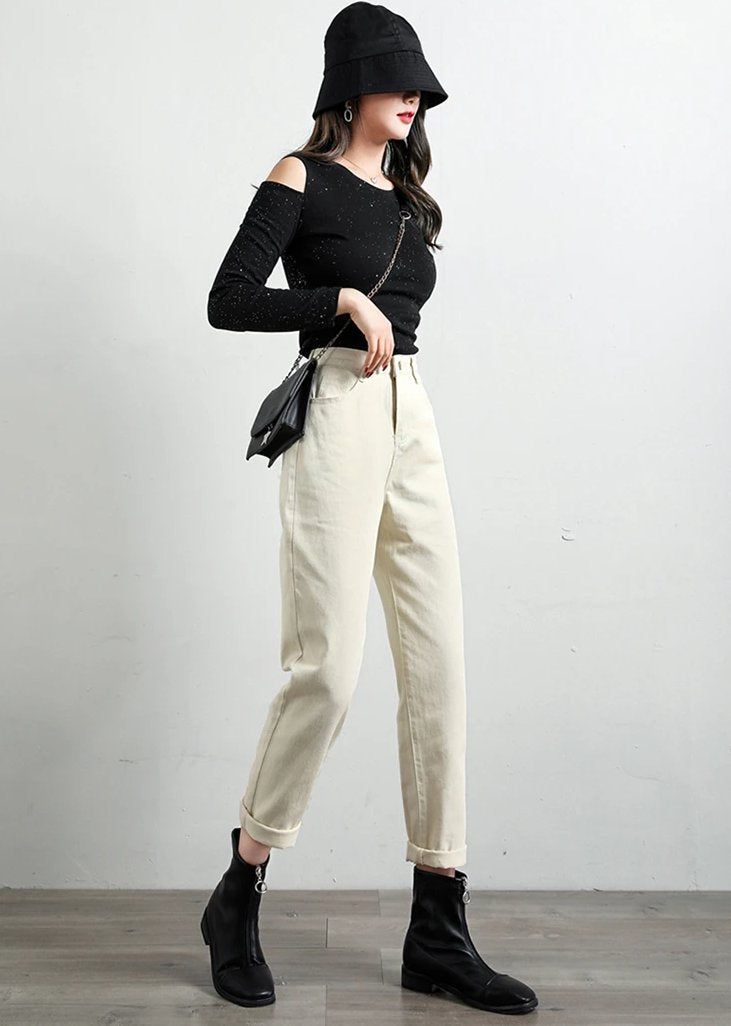 [Korean Style] Ren High Cropped Casual Jeans