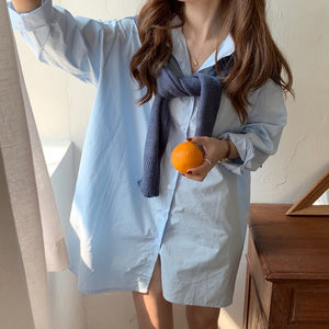 [Korean Style] Le Sasha Solid Color Button-down Shirt