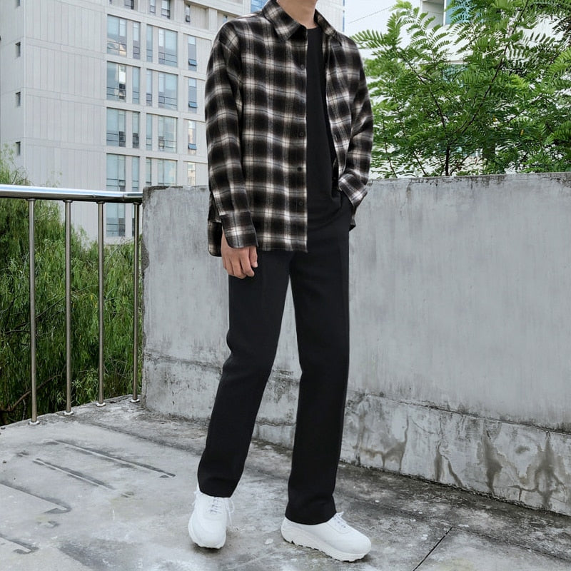 [Korean Style] Dehe Black / Gray Casual Straight Pants