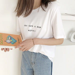 [Korean Style] 3 Colors Letter Print Cotton T-shirts