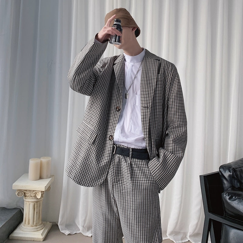 [Korean Style] Two Pieces Set Houndstooth Suit