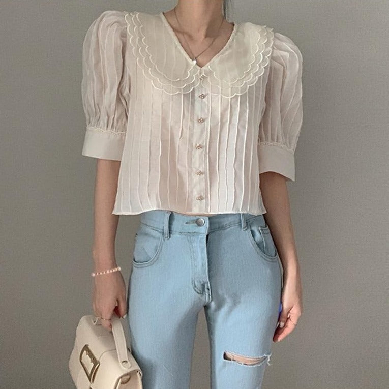 [Korean Style] Cannie See through Cropped Blouse
