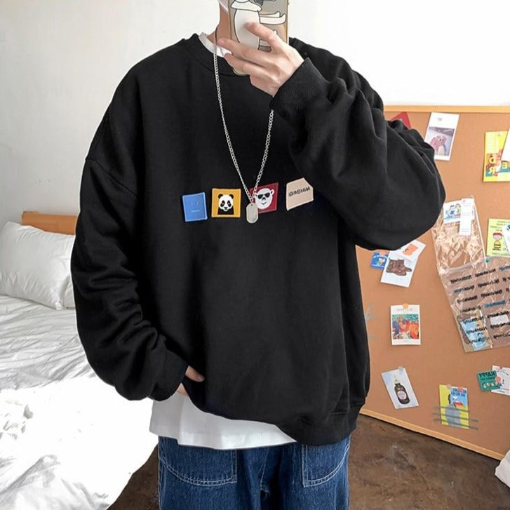 [Korean Style] 4 Colors Panda Patchwork Sweatshirts