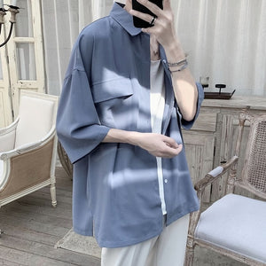 [Korean Style] 4 Colors 7-point-Sleevecut Shirts