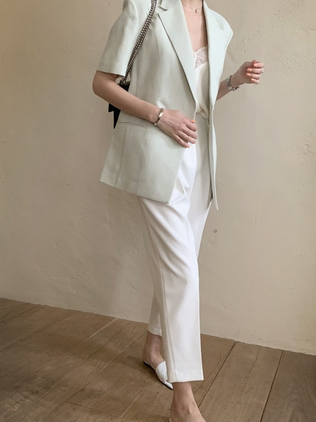 [Korean Style] Melvain Short Sleeve Blazer set