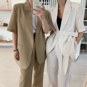 [Korean Style] Deb Matching Belted Blazer Set