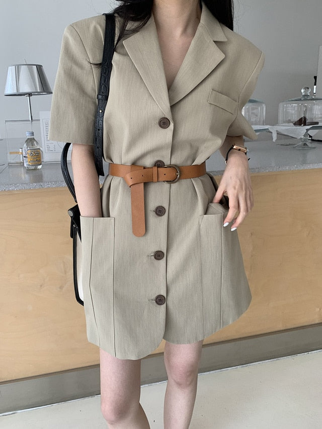 [Korean Style] Rendel Mini Shirt Dress with Knot Belt