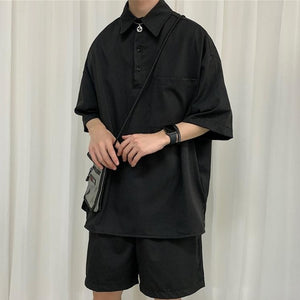 [Korean Style] Khaki/Black Oversize Tracksuit Sets