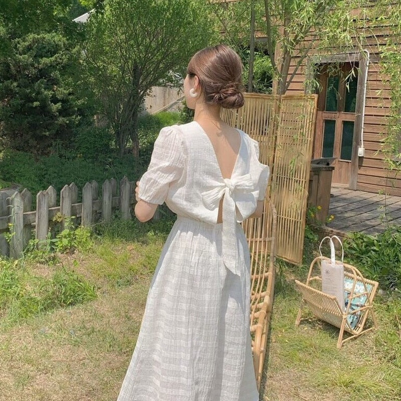 [Korean Style] Eleanor Back Ribbon Summer Dress
