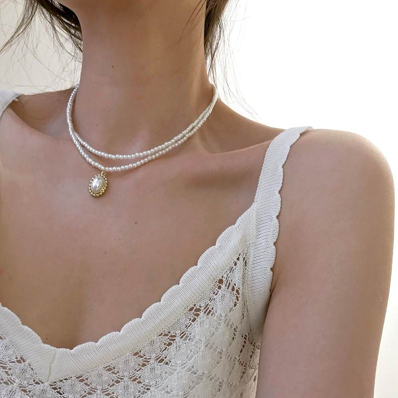 [Korean Style] Odette Pearl Beaded Double Layered Choker