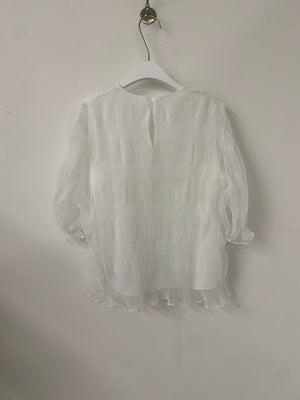 [Korean Style] Freya Ruffle Poplin See-throughBlouse