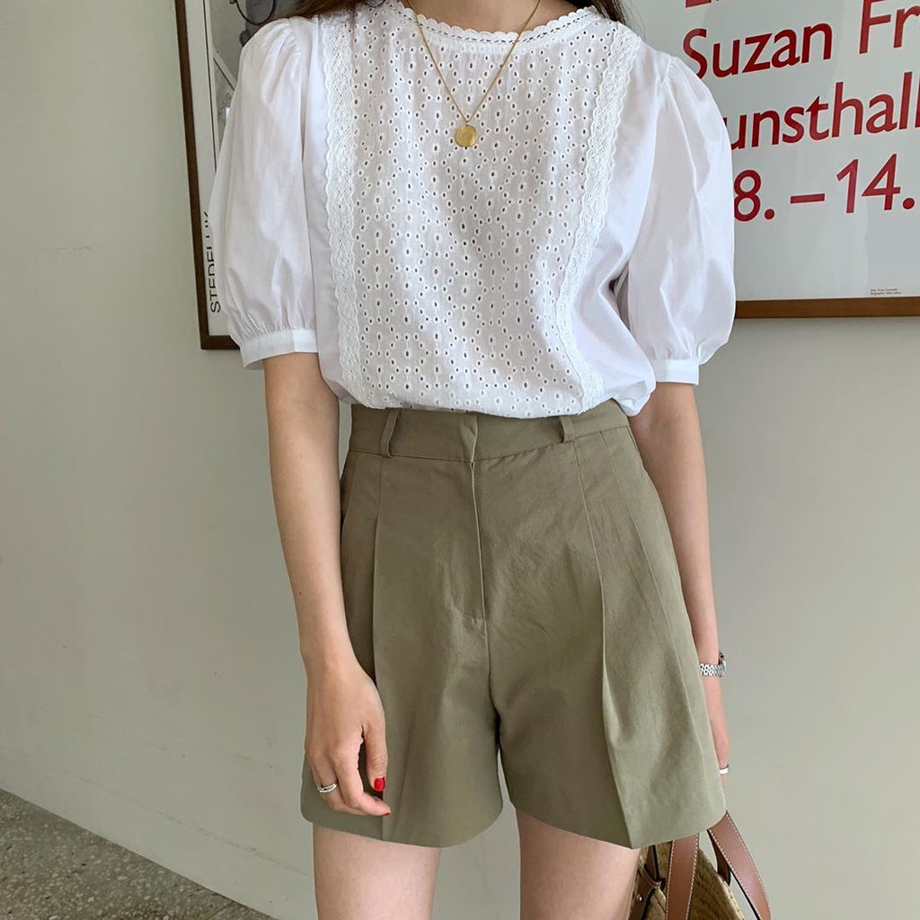 [Korean Style] 2 Pieces Brimington Puff Sleeve Lace Top w/ Pleated Shorts