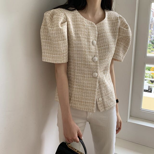 [Korean Style] Selena Short Sleeve Button-up Tweed Top