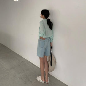 [Korean Style] Lucy High Waist Denim Shorts