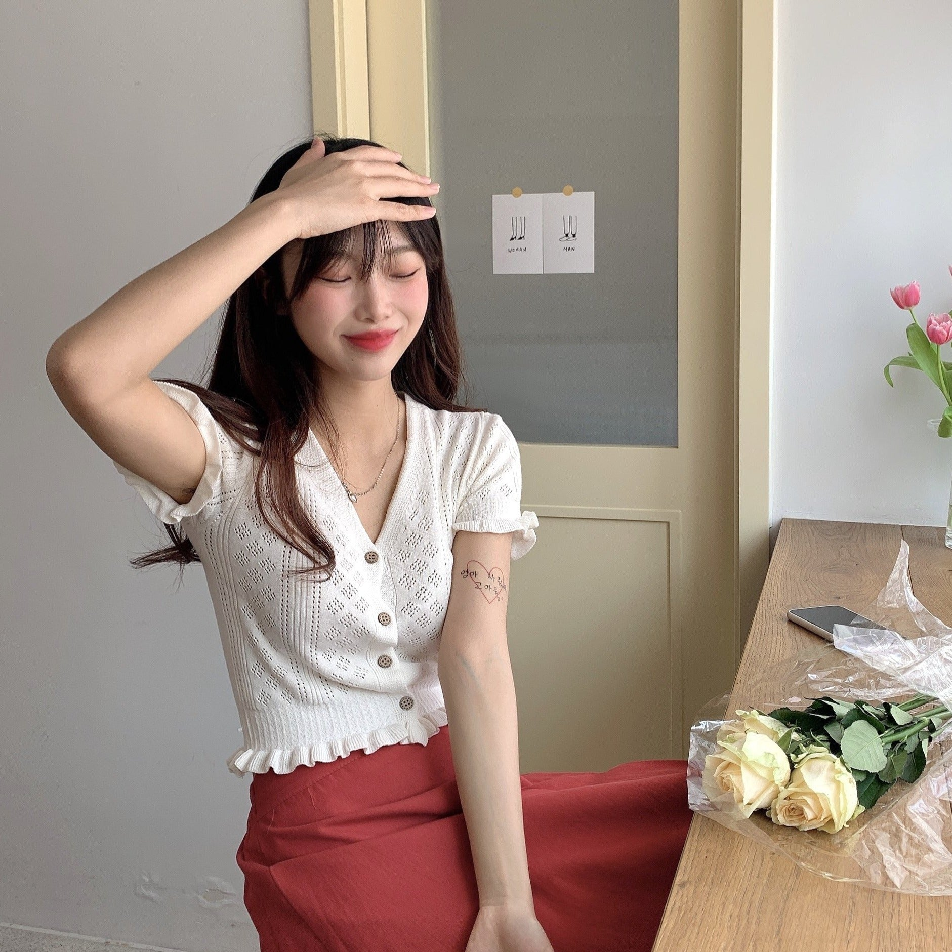 [Korean Style] Lacy Ruffle Cropped Top