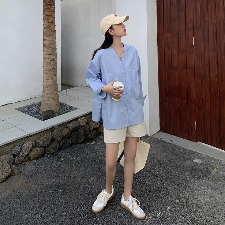 [Korean Style] Zoe V Neck Loose Fit Minimal Shirts