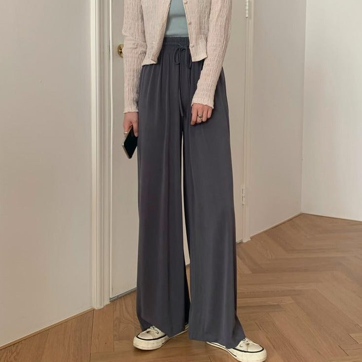 [Korean Style] Frencisca Drawstring Loose Fit Full Length Pants