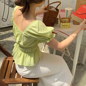 [Korean Style] Élise Square Neck Ruffle Blouse