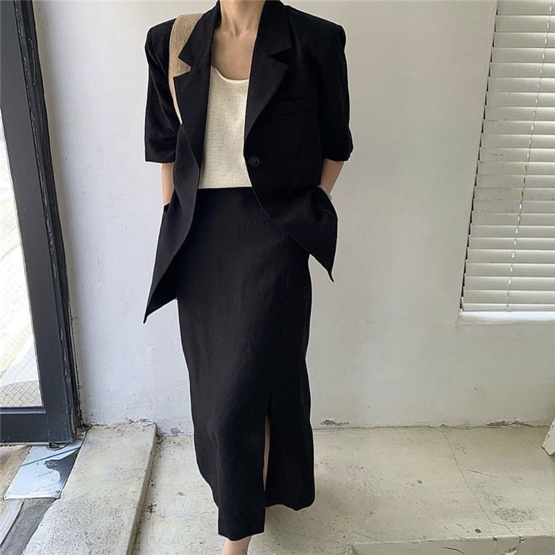 [Korean Style] Delphine Blazer w/ Slit Skirt 2 Piece Set
