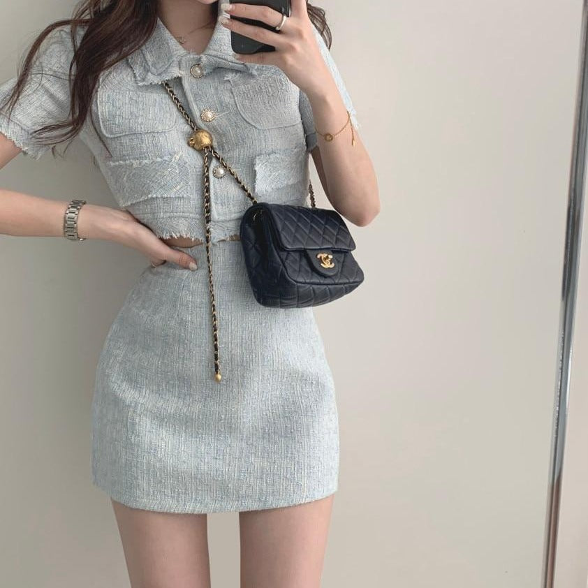 [Korean Style] Risette Cropped Tweed Jacket 2 Piece Set
