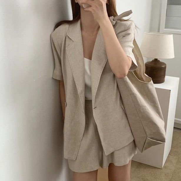[Korean Style] Coralie 2 Pieces Stitches Blazer Set
