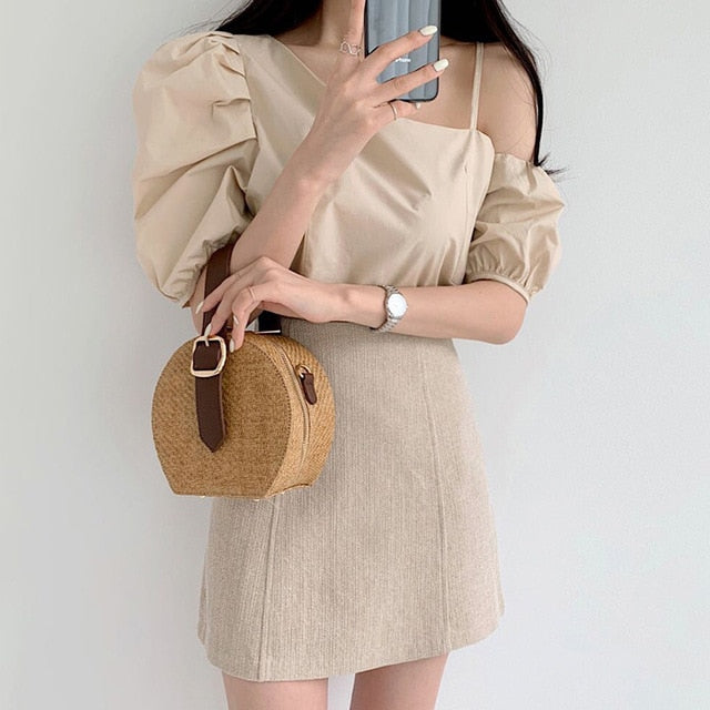 [Korean Style] Fezz Asymmetric Blouse w/ Skirt 2 Piece Set