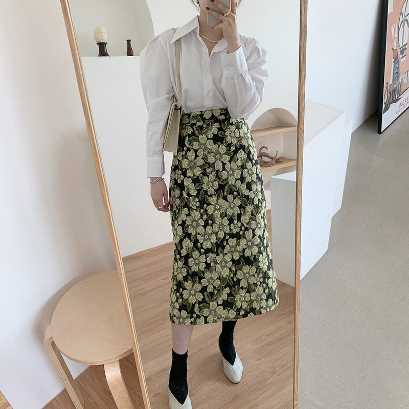 [Korean Style] Soline Puff Sleeve Shirts w/ Floral Print A-line Skirt 2 Piece Set