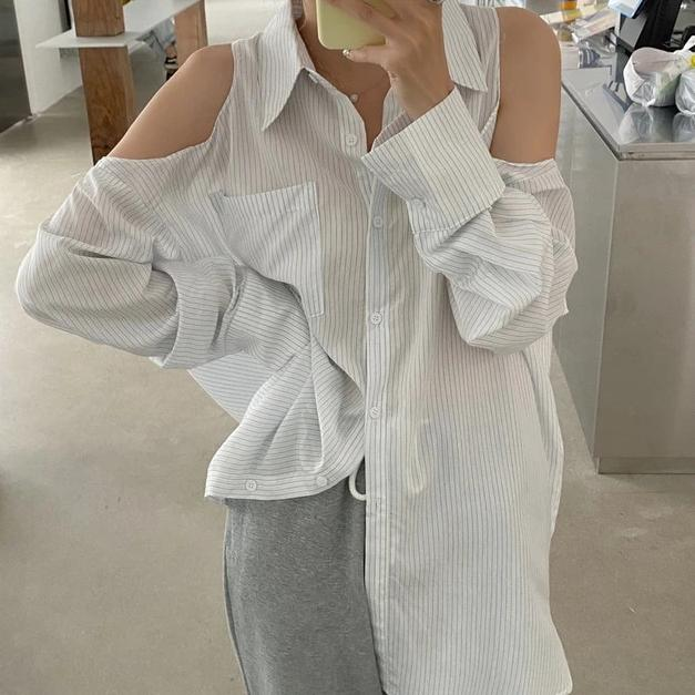 [Korean Style] Thalia Cut-off Shoulder Loose Fit Shirts