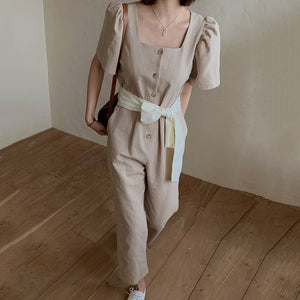 [Korean Style] Zelda Square NeckRibbon Romper