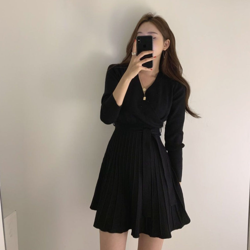 [Korean Style] Morrie Pleated Wrap Knit Dress