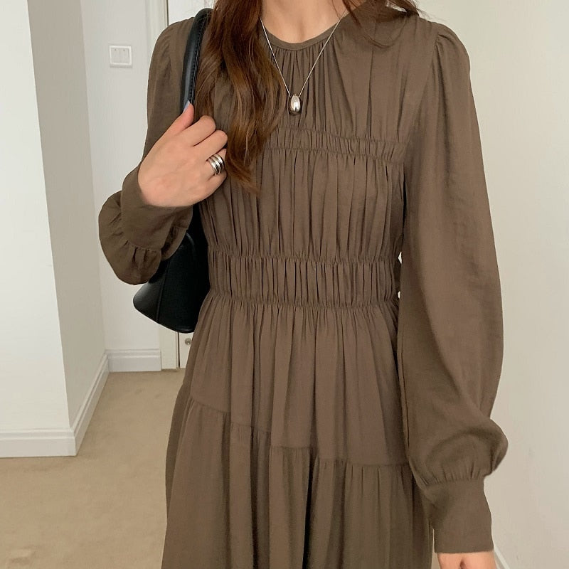 [Korean Style] Lecy Solid Color Pleated Dress