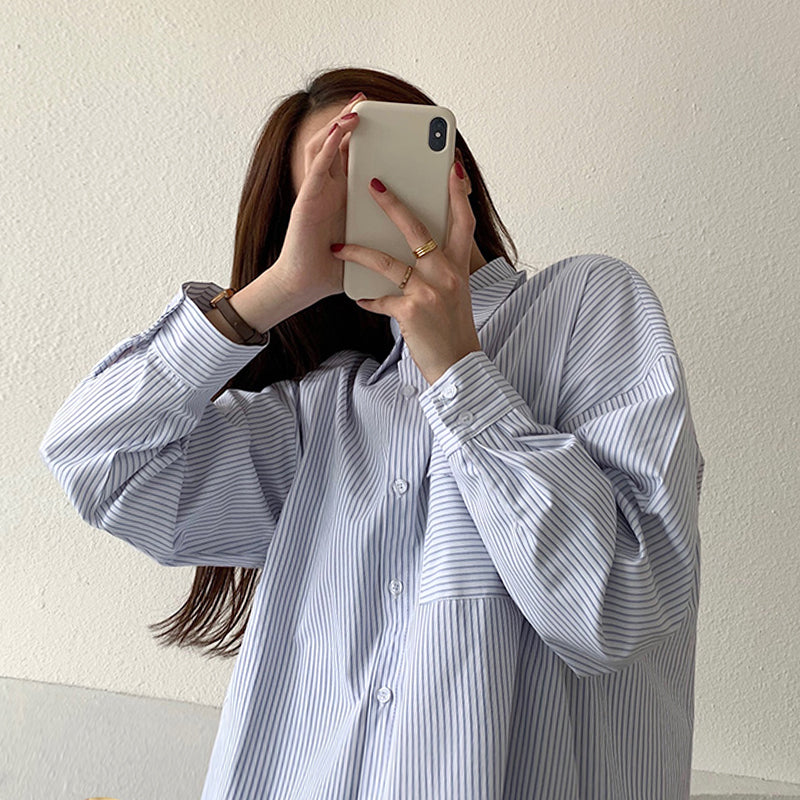 [Korean Style] Juni Loose Fit Striped Shirts
